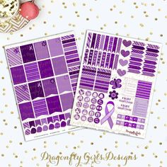 DIY Lupus Fight Like A Survivor Purple Printable Planner Mini Kit 125 Stickers pdf and 2 jpeg Erin Condren Life Planner Kikkik Filofax