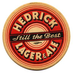 Hedrick Lager & Ale Coaster,  Hedrick Brewing Co.,  Albany, NY