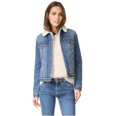 Levi's Authentic Sherpa Trucker Jacket ($145) ❤ liked on Polyvore featuring outerwear, jackets, blue denim jacket, sherpa fleece jacket, long sleeve denim jacket, jean jacket and sherpa jacket