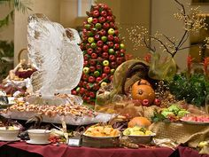 Cold food and fruit station at a Thanksgiving brunch buffet