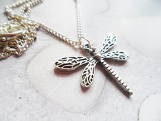 Silver dragonfly necklace with sterling silver hooks, Selma Dreams jewelry gift, nature inspired gifts by SelmaDreams on Etsy