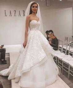 18 Trendy Bride Dress - Page 10 of 17 - Fashion is an attitude. Lazaro Wedding Dress, Wedding Bridesmaid Dresses, White Wedding Dresses, Bridal Dresses, Wedding Gowns, Wedding Bells, Bridesmaids, Bridal Looks, Bridal Style