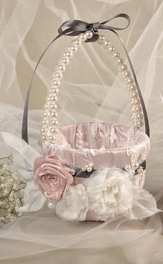 Flower Girl Basket  Peach Satin and cream Lace, Flowers and Pearls,