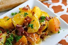 Oven Roasted Potatoes with Bacon & Parmesan | The FoodCharlatan.com