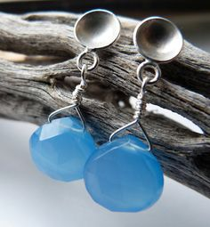 Blue Chalcedony Drop Studs by moiraklime on Etsy