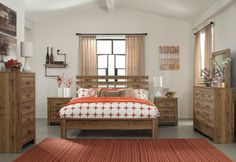 Cinrey Medium Brown 6 Pc. King Slat Panel Bedroom Collection