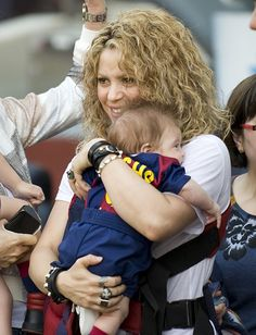 Daddy's little guys! On Saturday, April 18, Gerard Pique had a fantastic cheering section at his soccer match in Barcelona, Spain. The FC Barcelona centre-back, 28, was playing against Valencia CF as his longtime love Shakira and their sons Milan, 2, and Sasha, 2 months, looked on in the crowd.