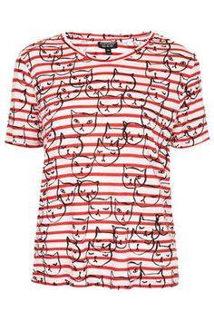 Conversational Stripe Cat Tee - T-Shirts - Tops - Clothing- Topshop Conversational Prints, Topshop, Printed Tees, Striped Tee, Cute Shirts, Fashion News, Fashion 2015, Beautiful Outfits, What To Wear