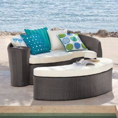 Curacao All-weather Outdoor Bed & Ottoman - Grandin Road by Grandin Road. $1298.00. Light aluminum frames will stay curvaceous and sturdy for years. Tightly woven contours of fade- and stain-proof fiber. Plush, custom-fit all-weather seat cushions. Ottoman can be used as a coffee table, root rest, or easy extra seating while entertaining guests. Tightly woven contours of fade- and stain-proof fiber. Light aluminum frames will stay curvaceous and sturdy for years. Plush, cu...