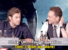 Who doesn't love a good Hollywood bromance, especially when it involves two actors that you're impossibly in love with, even though you've never met them? (But I feel like I have, I swear.) Thor and Avengers stars Tom Hiddleston and Chris Hemsworth