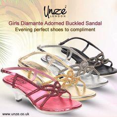 46c176b9500d  Girls  Diamante Adorned Buckled  Sandal  Unze London London London Uk  London Shoes
