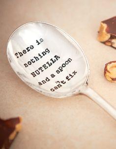 """Ražená čajová lžička """"There is nothing Nutella and a spoon can't fix"""" / kitchenette shop"""