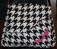Crossbody hounds tooth messenger overnight, tablet, day bag, Black and White with pink Shoe Applique