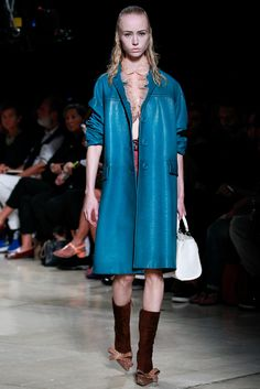 #blue #long #coat [Miu Miu Spring 2015 Ready-to-Wear - Collection - Gallery - Look 27 - Style.com]