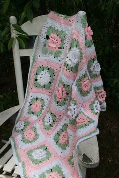 Made to Order Crochet Baby Blanket Afghan Granny Square Crocheted with Rose petals. FREE SHIPPING