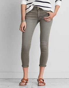 AEO Denim X Jegging Crop , Leaf Green | American Eagle Outfitters