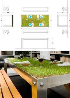 PicNYC Table Provides Green Grassy Dining Surface crazy eco-friendly design #design #eco-friendly #table #grass