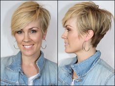 Short & Asymmetrical. Really short in the back, longer on top.