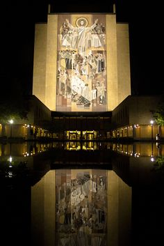 "Hesburgh Library, with the ""Word of Life"" mural (aka ""Touchdown Jesus"")"