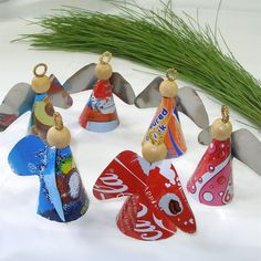 Set of 3 Recycled Tin 'Attitude Angels' Ornaments (South Africa) - Overstock Shopping - Great Deals on Global Crafts Accent Pieces Angel Crafts, Holiday Crafts, Christmas Angel Ornaments, Christmas Decorations, Xmas Tree, Soda Can Crafts, Aluminum Can Crafts, Recycle Cans, Reuse