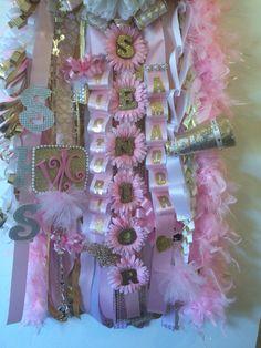Pink & white mum,  Princess Homecoming mum; Senior mum