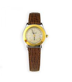 Reloj de señora Fauvre Leuba acero y chapado correa piel marrón ahora en subasta online - Subastas Regent's | Joyas y Antigüedades