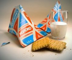 Soviet era milk pack -- I remember cream came in these pyramid shaped containers in Dublin in the delivered by the milkman. Milk Packaging, Packaging Design, Branding Design, In Soviet Russia, Paper Bag Design, Back In The Ussr, Snack Recipes, Snacks, Soviet Union