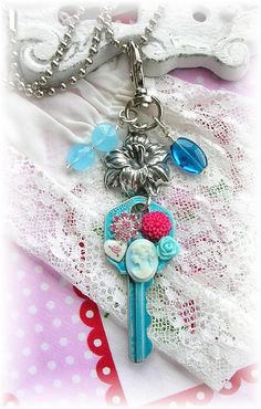 Vintage Key Zipper Purse Pull Bag Charm Cameo Shabby Chic Flowers Guilloche Enamel Glass Beads Necklace <3 <3 <3