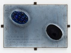 Louise Bourgeois, The Blue of the Sky, 1999 – steel, fabric, glass and lead, 45.7 x 64.8 x 8.3 cm – The blue of the sky / is my defense against agoraphobia. / My black is the helplessness / of controlling the fear.