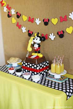 Mickey Mouse Breakfast Disney Trip Reveal. How cute is this?? She used my Minnie Mouse garland from Brandalynsbowtique.etsy.com. Check out what she did, can be used for birthdays as well!
