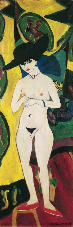 Ernst Ludwig Kirchner: Standing Nude with Hat, 1910 - (Early expressionists like Kirchner sought insight from Cranach, and early 16th century artists, with fresh expression.)