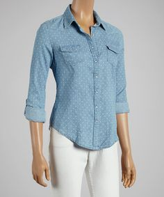 Loving this Starwear Blue & White Polka Dot Button-Up on #zulily! #zulilyfinds