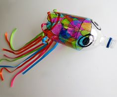 Childhood 101 | Art Projects for Kids: Recycled Bottle Koinobori. Great outdoor art project.