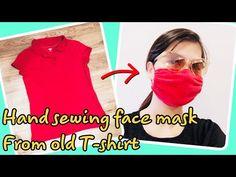 How to make face mask at home no sewing machine At Home Face Mask, Easy Face Masks, Diy Face Mask, Sewing Shirts, Simple Face, Old Shirts, Making Faces, Clothing Hacks, Diy Mask