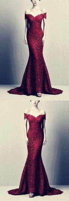 Elegant Burgundy Mermaid Prom Dresses V-neck Lace Off The Shoulder Evening Gowns P2975