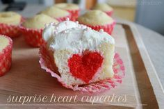 How to Make Valentine's Day Cupcakes {these are so cute with the little red hearts inside!}