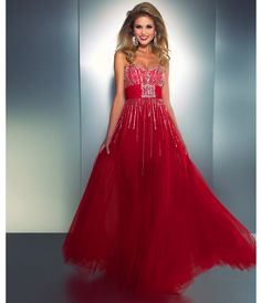 Mac Duggal Prom 2013 - Red Strapless Chiffon Dress With Striped Sequin & Rhinestone - Unique Vintage - Cocktail, Pinup, Holiday & Prom Dresses.