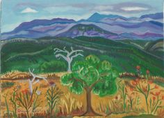 """ADRIENNE KYROS - """"Thistle Olive Trees and Beyond"""" Watercolor on Paper 22"""" x 30"""""""