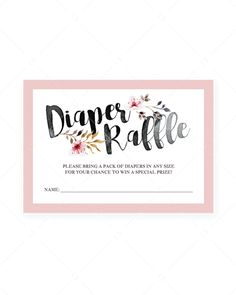 Pink and black baby shower diaper raffle tickets with watercolor flowers – LittleSizzle