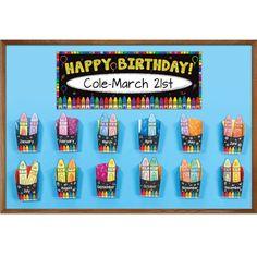 Classroom Happy Birthday Crayon Bulletin Board Kit                              …