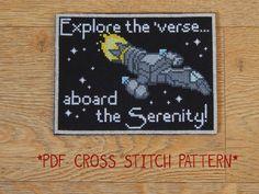 Firefly Serenity travel postcard cross stitch by CapesAndCrafts