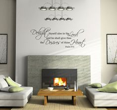 """Delight thyself also in the Lord..Psalm 37:4 Scripture Bible Verse Religious Vinyl Wall Decal Quote Lettering for Living Room 17""""H x 48""""W. $45.00, via Etsy."""