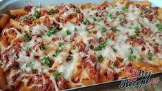 Penne s mletým masem a rajčatovou omáčkou Penne, Pasta, Challah, Hawaiian Pizza, Mashed Potatoes, Food And Drink, Cooking Recipes, Ethnic Recipes, Foods