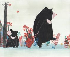 Giulia Maidecchi * Illustration of resettling Asian Black Bears. Also known as the moon bear and white-chested bear, it is a protected animal in China, however it is in danger of extinction now mostly because the habitat loss. * Orso Nero Asiatico - Questo orso è in lista come animale protetto in Cina. E' a rischio di estinzione soprattutto a causa deforestazione ed all'utilizzo nella medicina cinese.