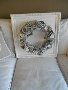 I love the wreath in the frame!