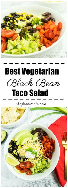 Best Vegetarian Black Bean Taco Salad is topped with all your favorite taco toppings and dressed with a chili lime vinaigrette. Perfect kid friendly salad great for your busy summer weeknights. Gluten Free with Vegan option. Healthy Gluten Free Recipes, Healthy Salad Recipes, Vegetarian Recipes, Veggie Recipes, Lunch Recipes, Paleo, Keto, Black Bean Taco Salad Recipe, Easy Taco Salad Recipe