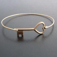 Key to My Heart Bangle Bracelet - Gold Tone, Brass Bangle, Heart Key Bracelet, Brass Key Heart, Key to Heart Jewelry. $15.95, via Etsy.