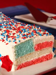 Star-Spangled Flag Cake -- This dessert recipe is sure to be a patriot's favorite at your 4th of July party!