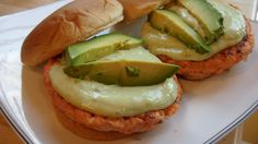 Salmon Burgers with Tangy Avocado Sauce.