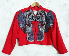 Korii Joko jacket red embellished jacket red embroidered jacket red crop jacket red crop blazer psychedelic jacket crop wool jacket